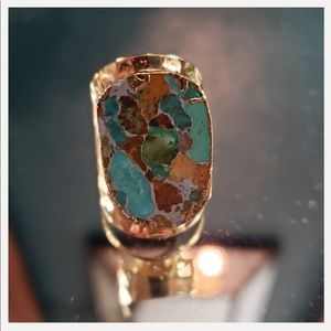 Blue Copper Turquoise Gold Plated Ring